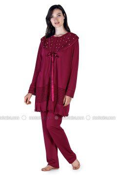 Maroon - Crew neck - Cotton - Viscose - Pyjama - Artış Collection(110332889)