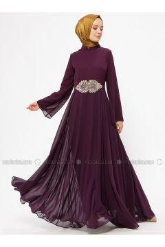Purple - Unlined - Crew neck - Muslim Evening Dress - BÜRÜN(110313625)