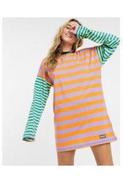 The Ragged Priest - Vestito T-shirt oversize a righe colorblock-Multicolore(122747953)