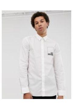 Love Moschino - Langärmliges Hemd mit Logo-Print - Weiß(94157082)