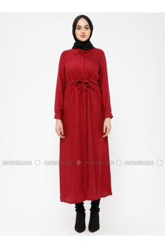 Maroon - Point Collar - Unlined - Dresses - SELLY(110330473)
