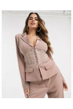 Lavish Alice - Blazer con corsetto trasparente color visone-Beige(120390715)