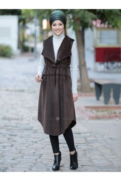 Brown - Fully Lined - Shawl Collar - Vest - DressLife(110332057)