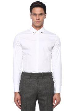 Neil Barrett Erkek Beyaz Yakası Taş İşlemeli Gömlek 40 IT(121108193)