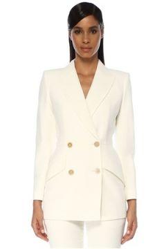 Alexander McQueen Kadın Beyaz Kırlangıç Yaka Ceket 44 IT(120138944)