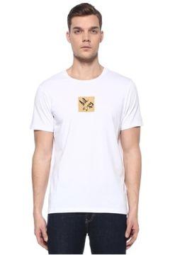 Academia Erkek Beyaz İşlemeli Comic Detaylı Basic T-shirt XS EU(108873757)