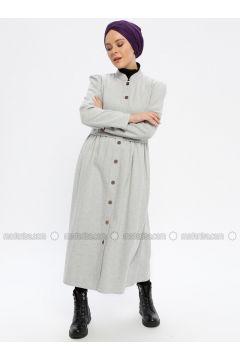 Gray - Unlined - Crew neck - Topcoat - Beha Tesettür(110336524)
