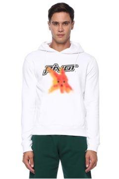 Off-White Erkek Beyaz Kapüşonlu Baskılı Sweatshirt S EU(120885514)
