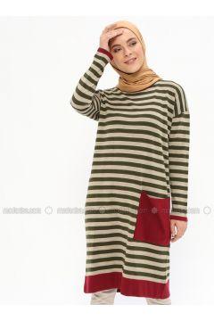 Khaki - Stripe - Crew neck - Acrylic -- Tunic - İLMEK TRİKO(110321775)
