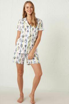 Kadın Desenli Şortlu Pijama Takımı(126603425)