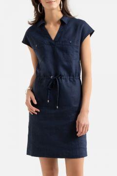 Vestido recto de lino, manga corta(108523080)