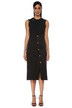 Versace Kadın Siyah Saten Garnili Yırtmaçlı Midi Elbise 38 IT(120742014)