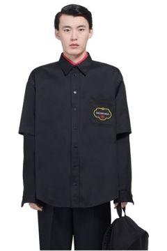 Balenciaga Erkek Siyah İngiliz Yaka Logo Baskılı Dış Gömlek 38 IT(113464399)