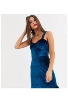 Fashion Union Tall - Vestitino blu velluto con fondo a volant e spalline strutturate(120330480)