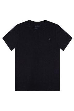 Bassigue Erkek VCR Siyah Baskılı Basic T-shirt Siyah S EU(118330294)