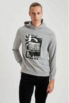 DeFacto Erkek Baskılı Slim Fit Kapüşonlu Sweatshirt(125931217)