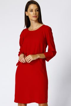House Of Camellia Kadın Bisiklet Yaka Kırmızı Elbise(113965676)
