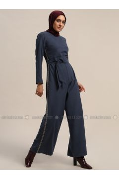 Navy Blue - Unlined - Crew neck - Cotton - Jumpsuit - Refka(110313182)