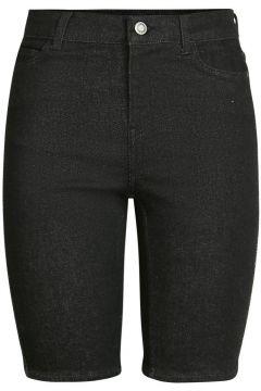 PIECES Slim Fit Longline Jeansshorts Damen Schwarz(113669816)