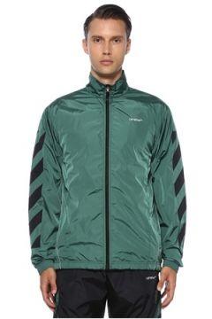 Off-White Erkek Yeşil Siyah Reflektif Şeritli Mont S EU(120885506)