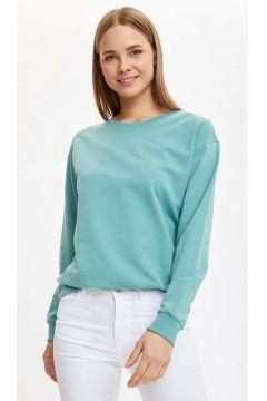 DeFacto Kadın Yarım Düşük Omuz Sweatshirt(108641604)
