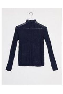 Raga - Quinn - Top a maniche lunghe accollato in maglia dévoré-Navy(124808480)