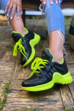 İnan Ayakkabı Kadın Siyah Yeşil Sneaker Spor Ayakkabı(119318051)