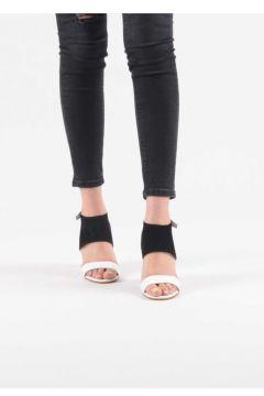 Libilobi - Zebra Desen Topuk Detaylı Siyah Renk Süet Ayakkabı(113621638)