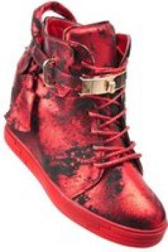 Pantofelek24.pl   Trampki sneakersy na koturnie z kłódką CZERWONE(112082951)