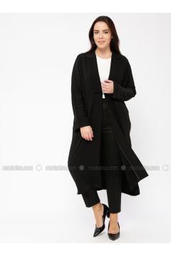 Black - Unlined - Shawl Collar - Jacket - Minimal Moda(110331279)