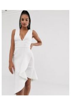Lavish Alice - Vestito scuba a portafoglio bianco con scollo a V e volant(120300034)