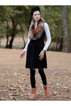 Black - Unlined - Vest - Selma Sarı Design(110318651)