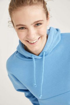 DeFacto Kadın Basic Kapüşonlu Relax Fit Crop Sweatshirt(125935107)