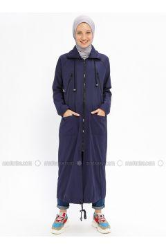 Navy Blue - Unlined - Cotton - Trench Coat - Beha Tesettür(110328291)