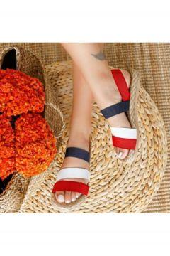 Park Moda Kadın Kırmızı Fema Şeritli Sandalet(118693335)
