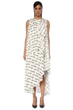 Balenciaga Kadın Stola Beyaz Logolu Asimetrik Midi İpek Elbise Siyah 34 FR(120730957)