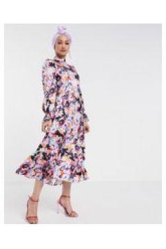 Never Fully Dressed - Vestito lungo con maniche lunghe svasate rosa a fiori-Multicolore(120331289)