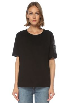 Moncler Kadın Siyah Kolu Cep Detaylı T-shirt S EU(122296619)