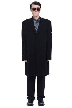 Balenciaga Erkek Siyah Kelebek Yaka Twill Krep Palto 46 IT(113464375)