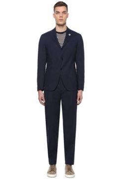 Lardini Erkek Lacivert Mikro Desenli Yün Takım Elbise 50 IT(107373294)