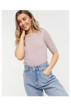 JDY - Pernille - T-shirt in maglia a maniche corte malva-Rosa(124133146)