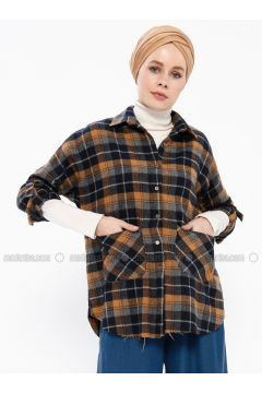 Mustard - Plaid - Point Collar - Blouses - İroni(110339000)