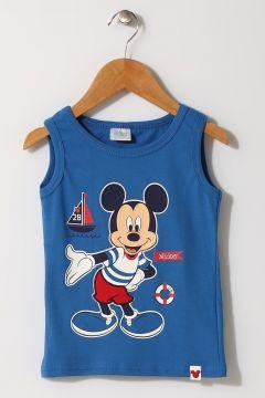 Mammaramma Erkek Çocuk Mickey Mouse Baskılı Mavi İç Giyim Atlet(113968205)