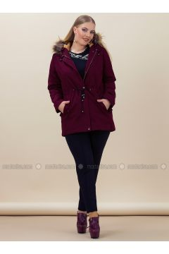 Maroon - Fully Lined - Plus Size Overcoat - RMG(110322999)