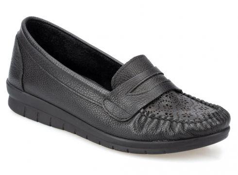 Polaris 91.100781.z Siyah Kadın Deri Ayakkabı - FLO Ayakkabı(77275732)