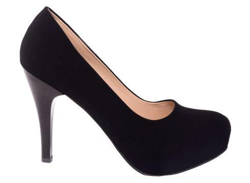 Caprito Kadın Siyah Süet Klasik Topuklu Ayakkabı(113617790)