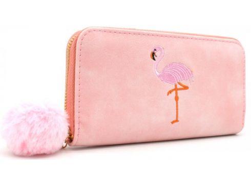 Kunstleder Geldbörse Flamingo Stickerei Geldbeutel Kunstfell Bommel(90490650)