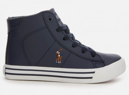 Polo Ralph Lauren Kids\' Easten Mid Tumbled Leather Trainers - Navy/Multi - UK 10 Kids - Navy/Multi(60629306)
