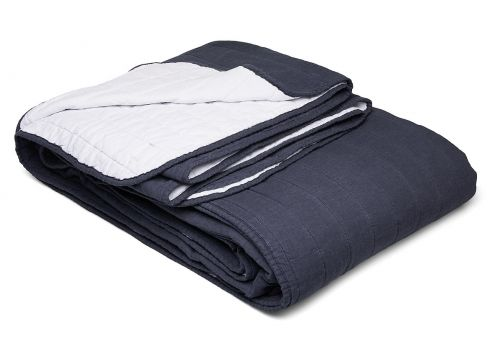 Bedspread Linen Blend Decke Blau GRIPSHOLM(114165542)