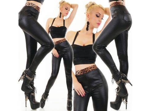 High Waist Thermo Lederlook Leggings mit Leo Touch(99700043)